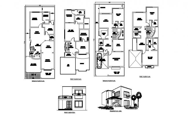 Plan of bungalow 32' x 70' with detail dimension in AutoCAD