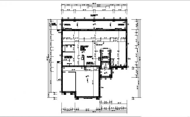 Plan of bungalow 58' x 62' with detail dimension in dwg file