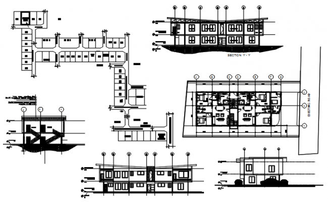 Plan of education centre with detail dimension in dwg file