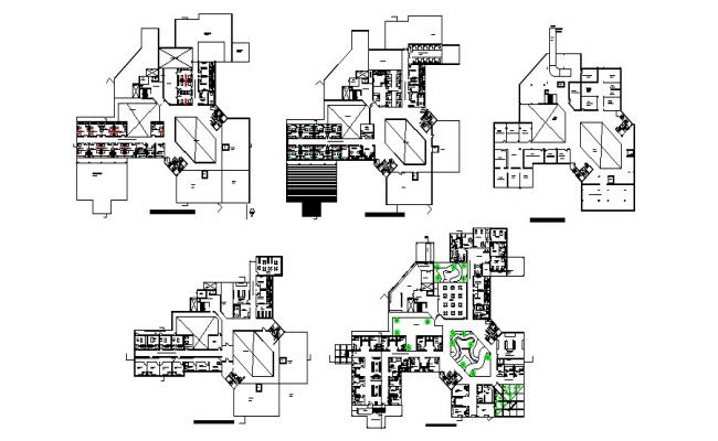 Plan of eye hospital with detail dimension in dwg file