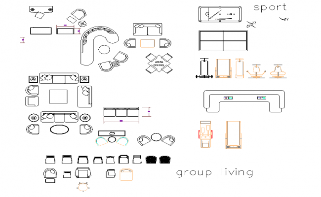 Plan of furniture equipment detail dwg file.