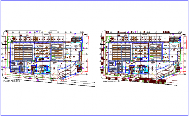 Plan of general arrangement of office dwg file