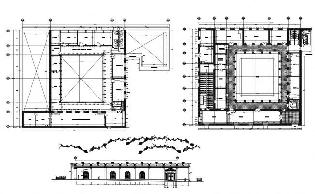 Plan of girls school 61.66mtr x 42.09mtr with elevation in AutoCAD