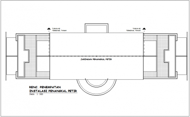 Plan of government office building with tank view dwg file