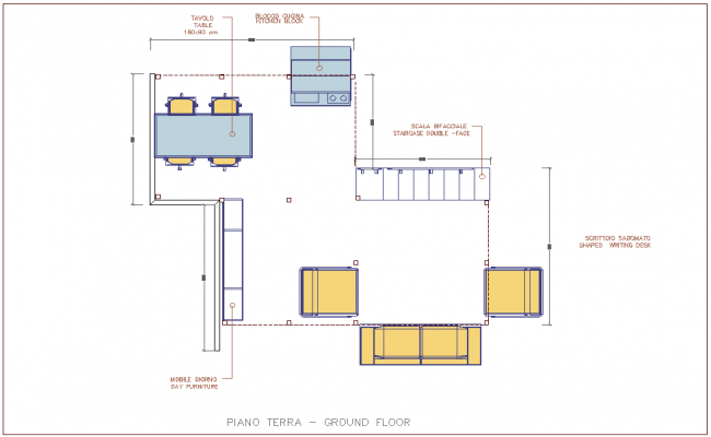 Plan of ground floor view of house with furniture view dwg file