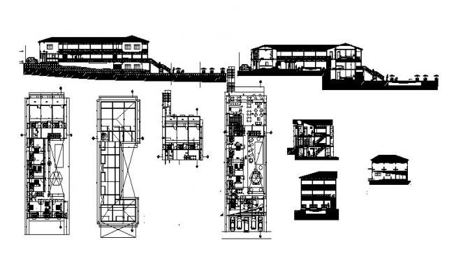 Plan of guest house 12.50mtr 42.84mtr with elevation and section in dwg file