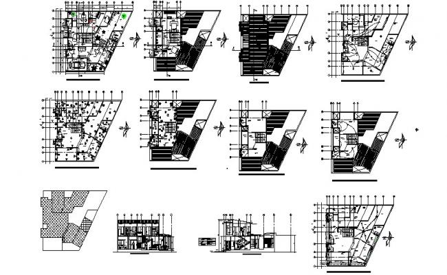 Plan of guest house 17.04mtr x 14.00mtr with detail dimension in dwg file
