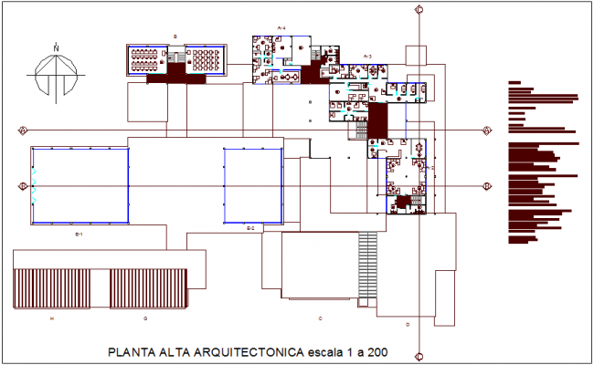 Plan of high level for collage dwg file