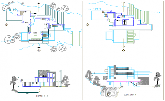 Plan of home with falling water