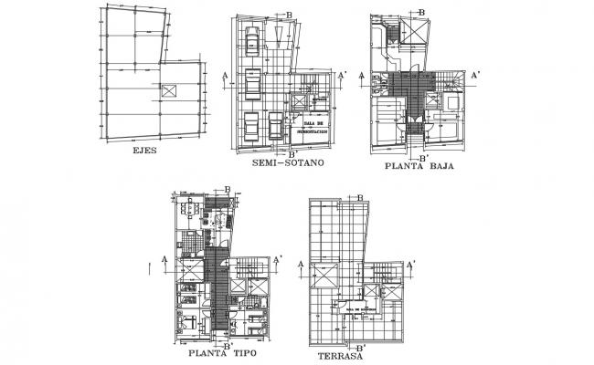 Plan of house 10.10mtr x 16.65mtr with detail dimension in autocad
