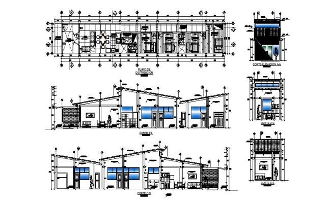 Plan of house 26.00mtr x 4.00mtr with detail dimension in dwg file