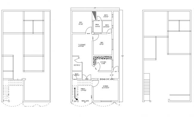 Plan of house 29' x 52' with detail dimension in dwg file