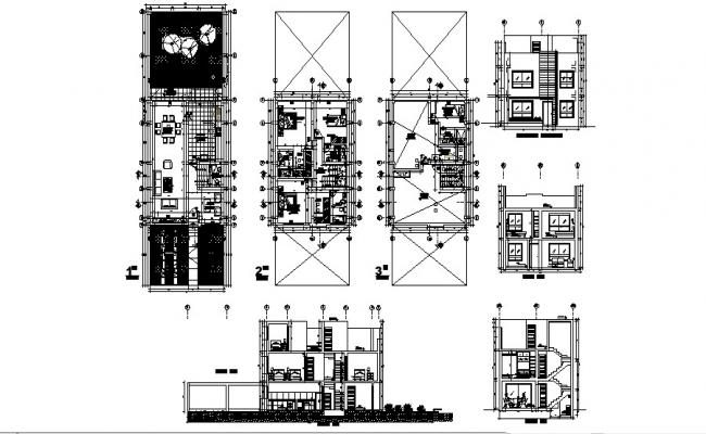 Plan of house 7.55mtr x 11.43mtr with section and elevation in dwg file