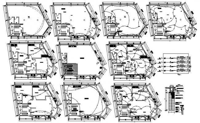 Plan of house 8.90mtr x 8.00mtr with the electric layout in AutoCAD