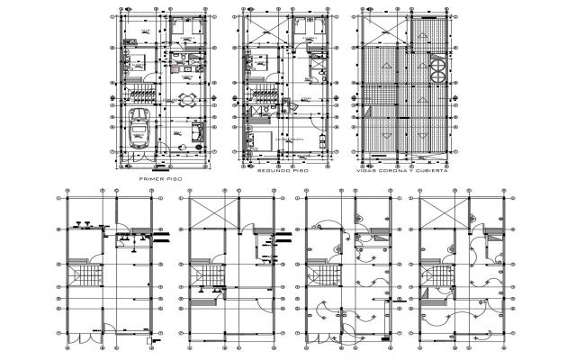 Plan of house design 7.00mtr x 14.00mtr with detail dimension in dwg file