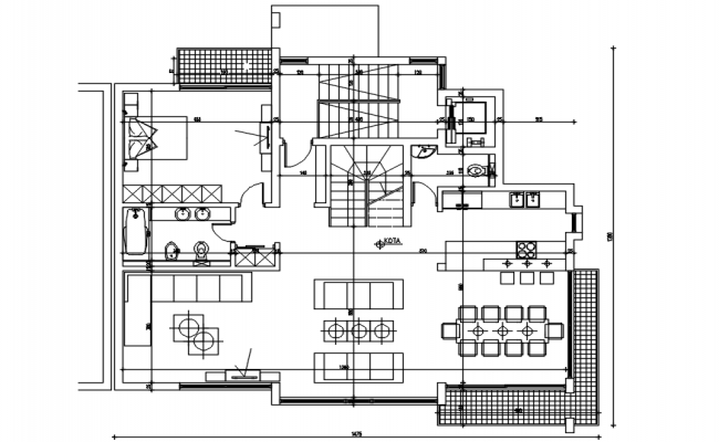 Plan of house design in dwg file