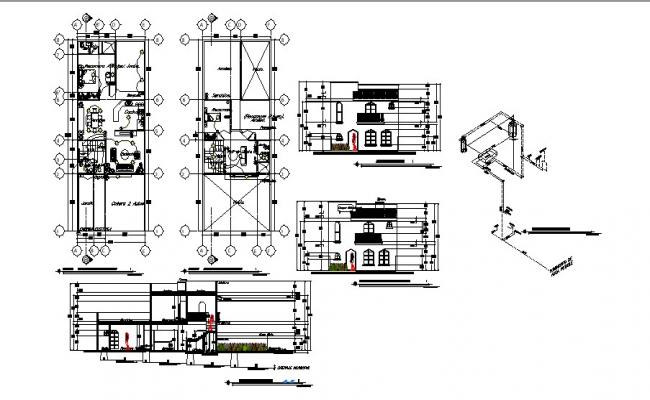 Plan of house design with elevation and section in dwg file