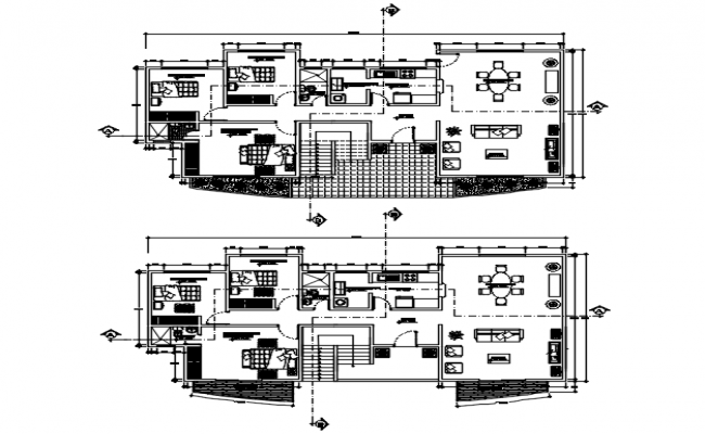 Plan of house design with furniture details in autocad