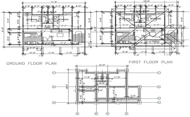 House plans with details dimension in DWG files