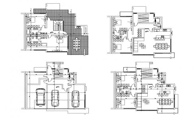 Plan of house with furniture detail in autocad