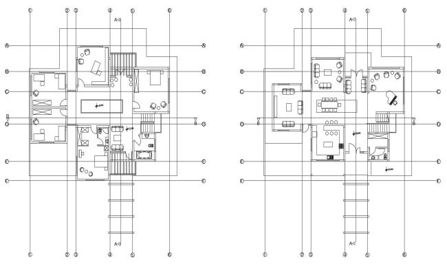 Plan of house with furniture details in dwg file
