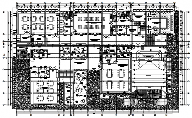 Plan of institute building with detail dimension in dwg file
