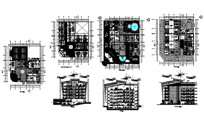 Plan of multistorey hotel building 36.75mtr x 38.00mtr with detail dimension in dwg file