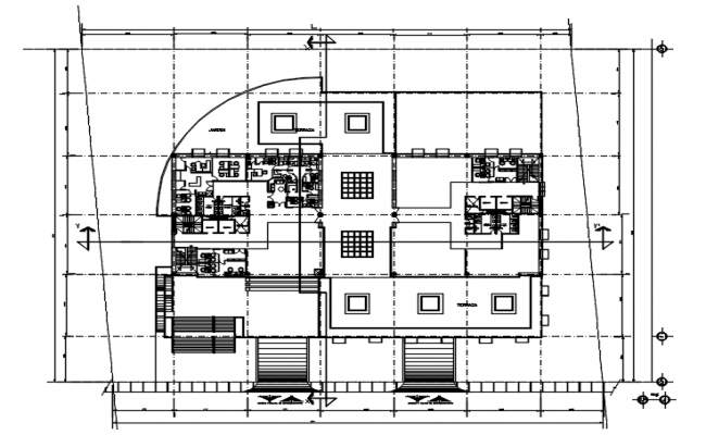 Plan of office design with detail dimension in dwg file