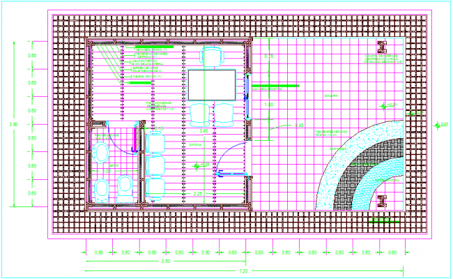 Plan of office with dimension view dwg file