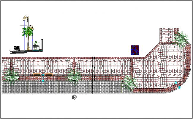 Plan of paving detail and tiles view dwg file