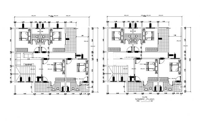 Plan of residential house 12.00mtr x 10.80mtr with detail dimension in dwg file