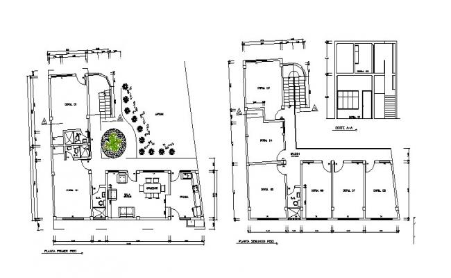 Plan of residential house 14.25mtr x 11.74mtr with elevation in dwg file