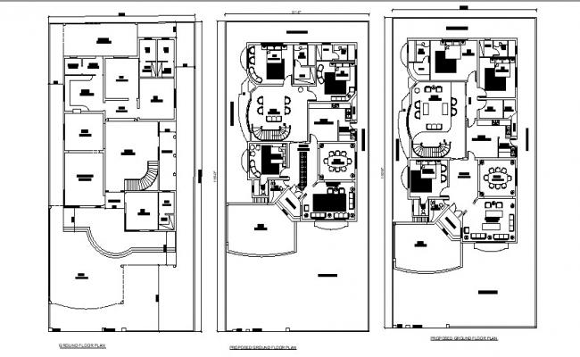 Plan of residential house 61' x 116' with furniture detail in AutoCAD file