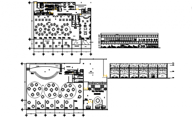Plan of restaurant building with furniture details in AutoCAD