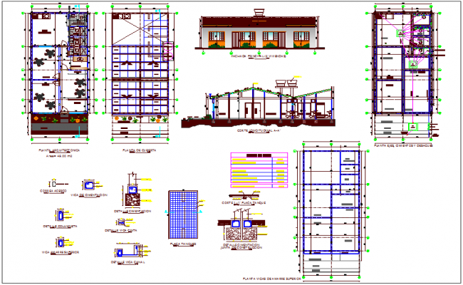 Plan of school with garden view dwg file