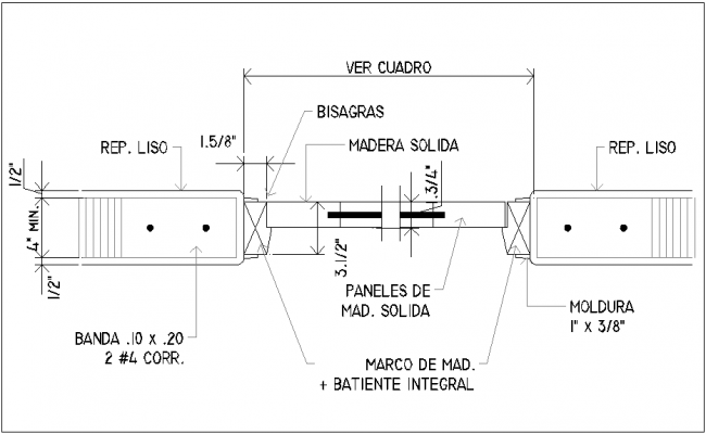 Plan of solid door with frame view dwg file