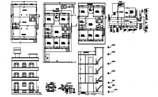 Plan of the apartment with elevation and section in dwg file