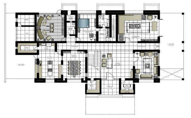 Plan of the bungalow with detail dimension in autocad