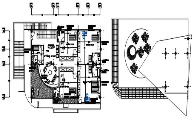 Modern Bungalow House Floor Plan In DWG File