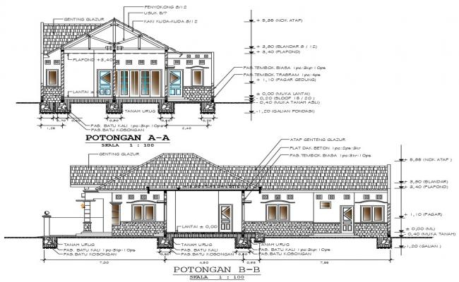 modern bungalow house plans with detail dimension in autocad