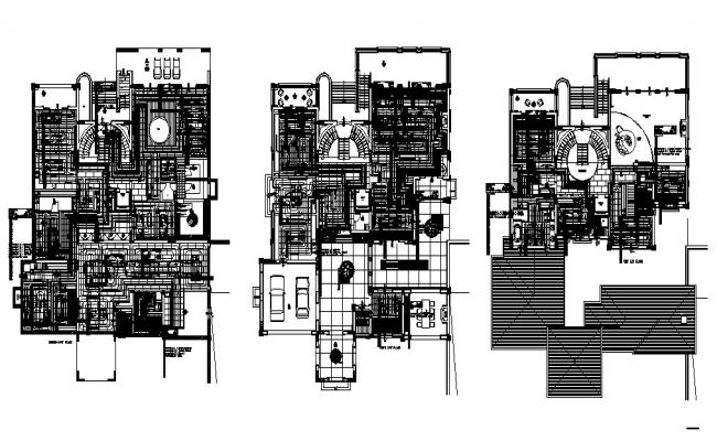 Plan of the bungalow with elevation and section in dwg file