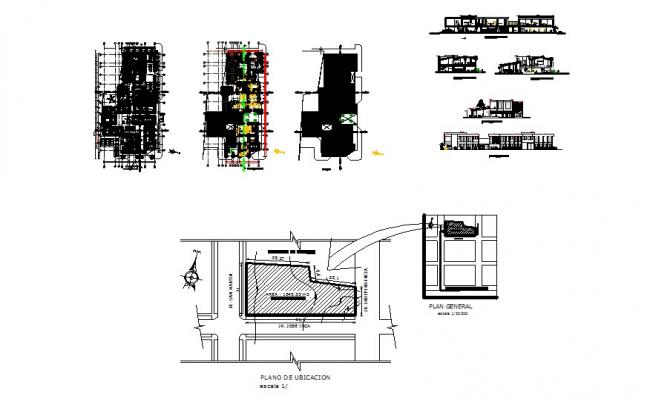 Plan of the health center with detail dimension in dwg file