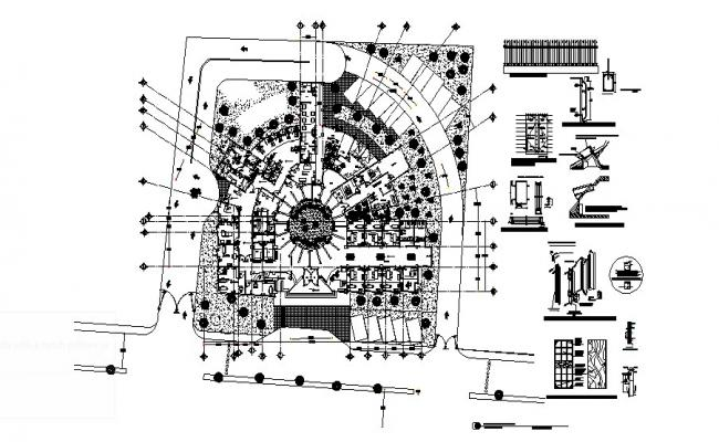 Plan of the hospital with detail dimension in autocad