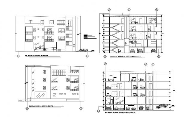 Plan of the hotel building with different section and elevation in dwg file