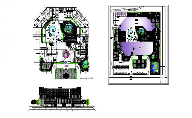Plan of the hotel building with elevation in autocad