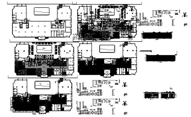 Plan of the hotel building with elevations in dwg file