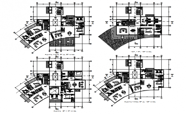 Plan of the hotel building with furniture details in AutoCAD