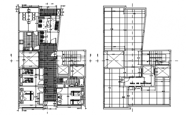 Plan of the hotel with detail dimension in autocad