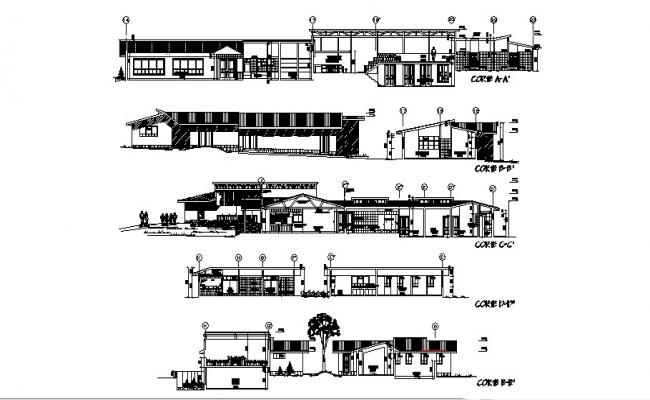 Plan of the hotel with different section and elevation in dwg file