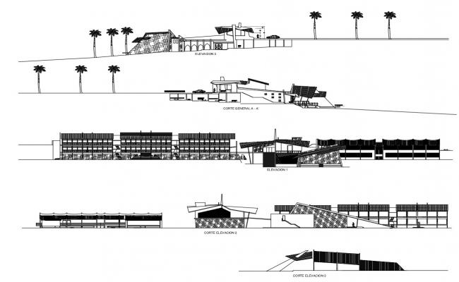Plan of the hotel with elevation and section in dwg file
